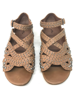 Studded Flat Leather Sandal