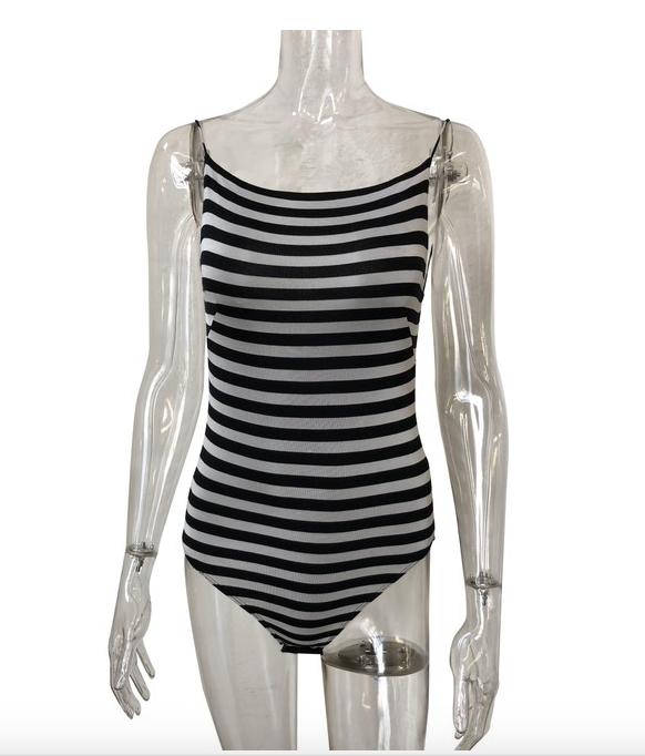 Striped Sleeveless Bodysuit
