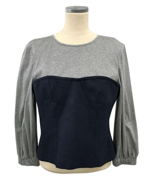 Grey Navy Paneled Cotton-jersey and Linen Top