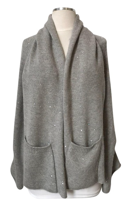 Grey Sequin Shawl with Sleeves