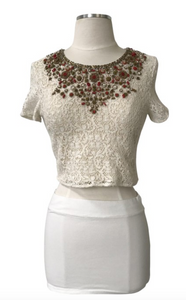 Lace Knit Beaded Crop Top