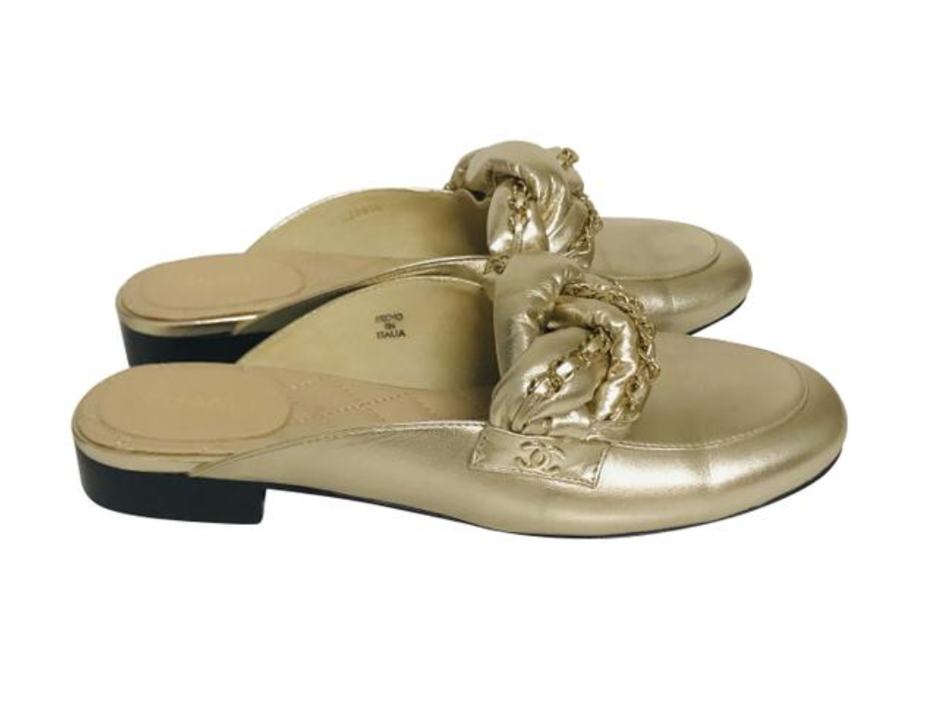 Chanel  Metallic gold-tone leather round-toe mules Sz 38.5