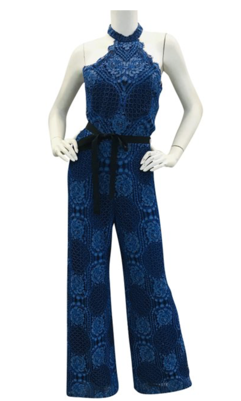 Alexis Blue and Black sleeveless lace jumpsuit  Sz  Small
