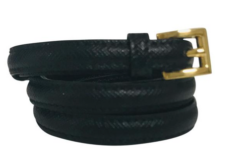 Prada Black Saffiano leather skinny waist belt Sz 85/34,