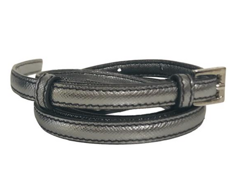 Prada Silver  leather skinny waist belt Sz 80/32