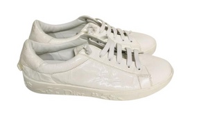 Christian Dior Creme Patent Leather Sneakers Sz 37.5