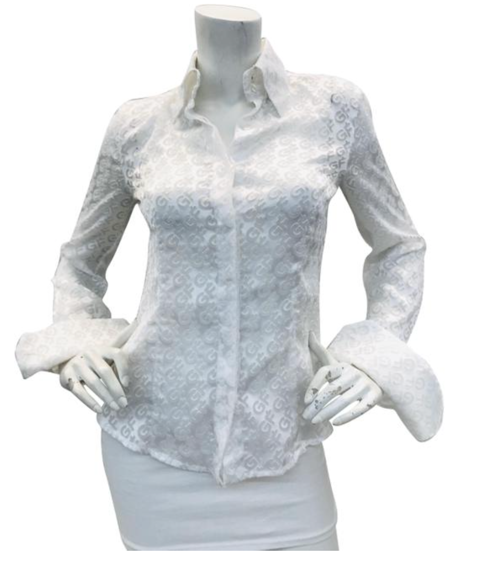 Gianfranco Ferre Vintage White Monogram Shirt  Sz XS