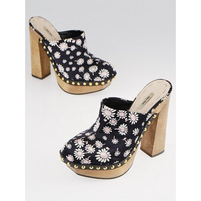 Black Satin Flowers Clog Heels