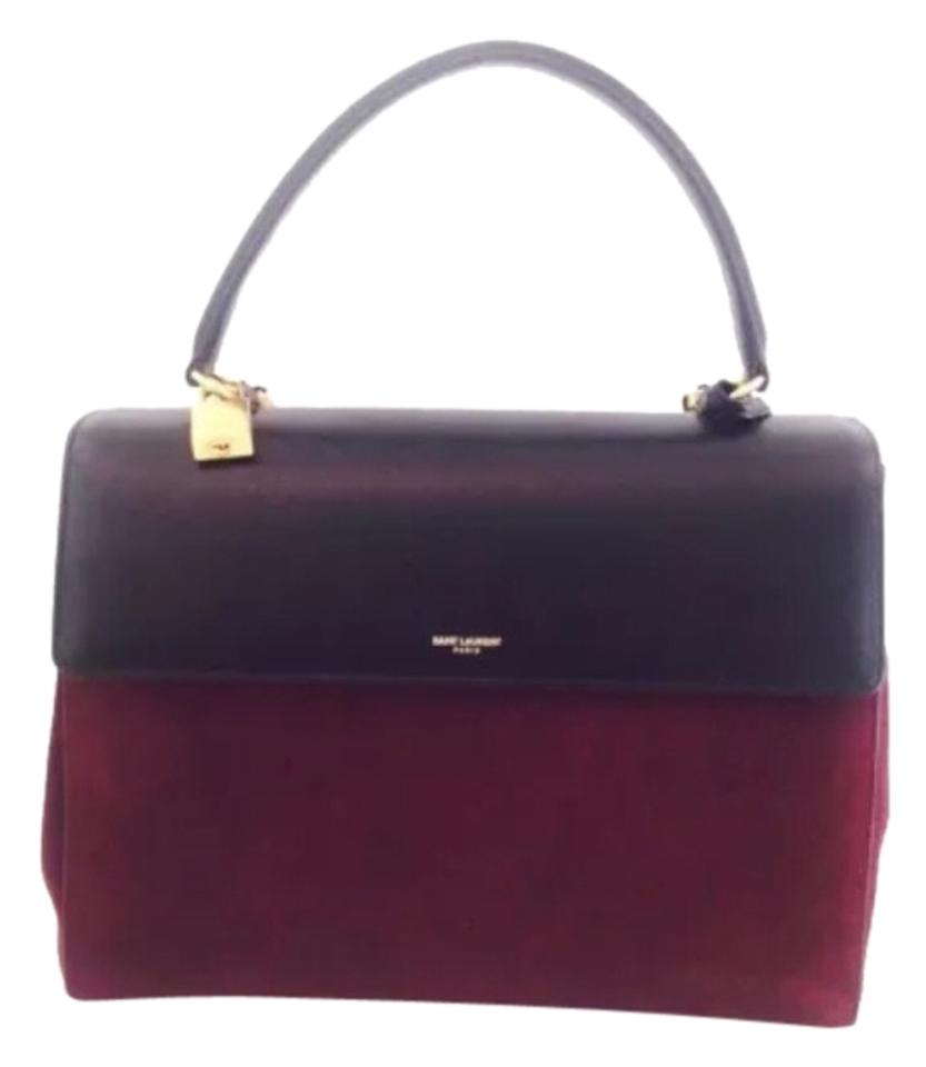 BURGUNDY BLACK SATCHEL
