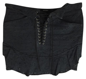 Black Broderie Inny Mini Skirt