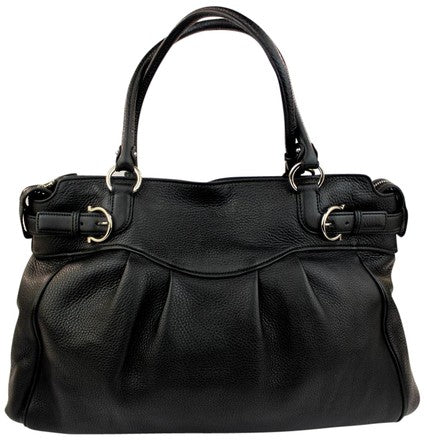 Leather Pebbled Gancini Shoulder Bag