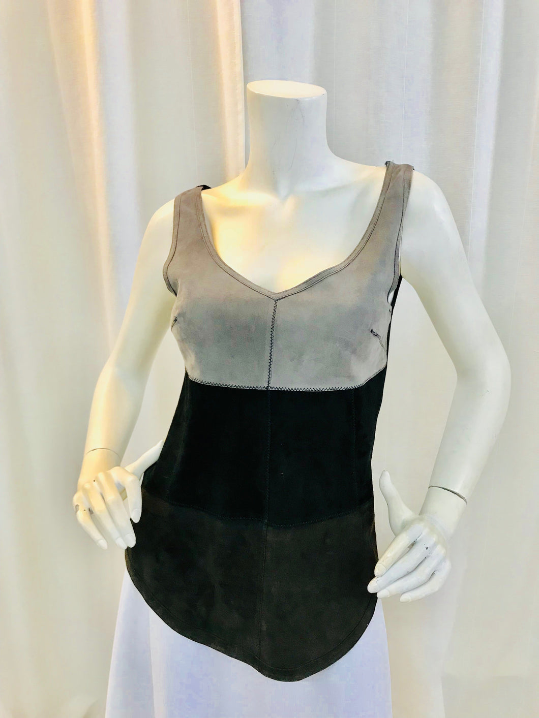 Illia Leather Color block Top