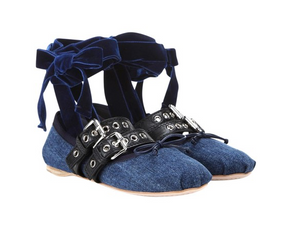 Strapped Denim Lace-Up Ballet Flats