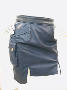 Self Portrait Black and blue Leather Skirt Sz 4