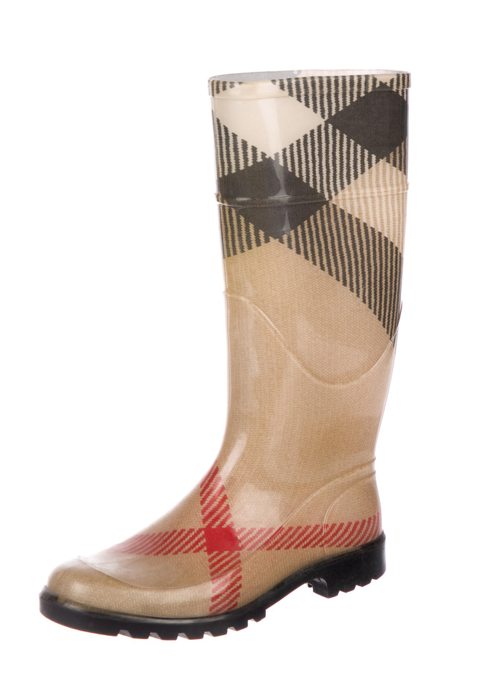 Burberry Tan and multicolor rubber round-toe mid-calf rain boots Sz 39