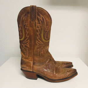 Lucchese Brown leather pointed-toe mid-calf cowboy boots  Sz 7.5