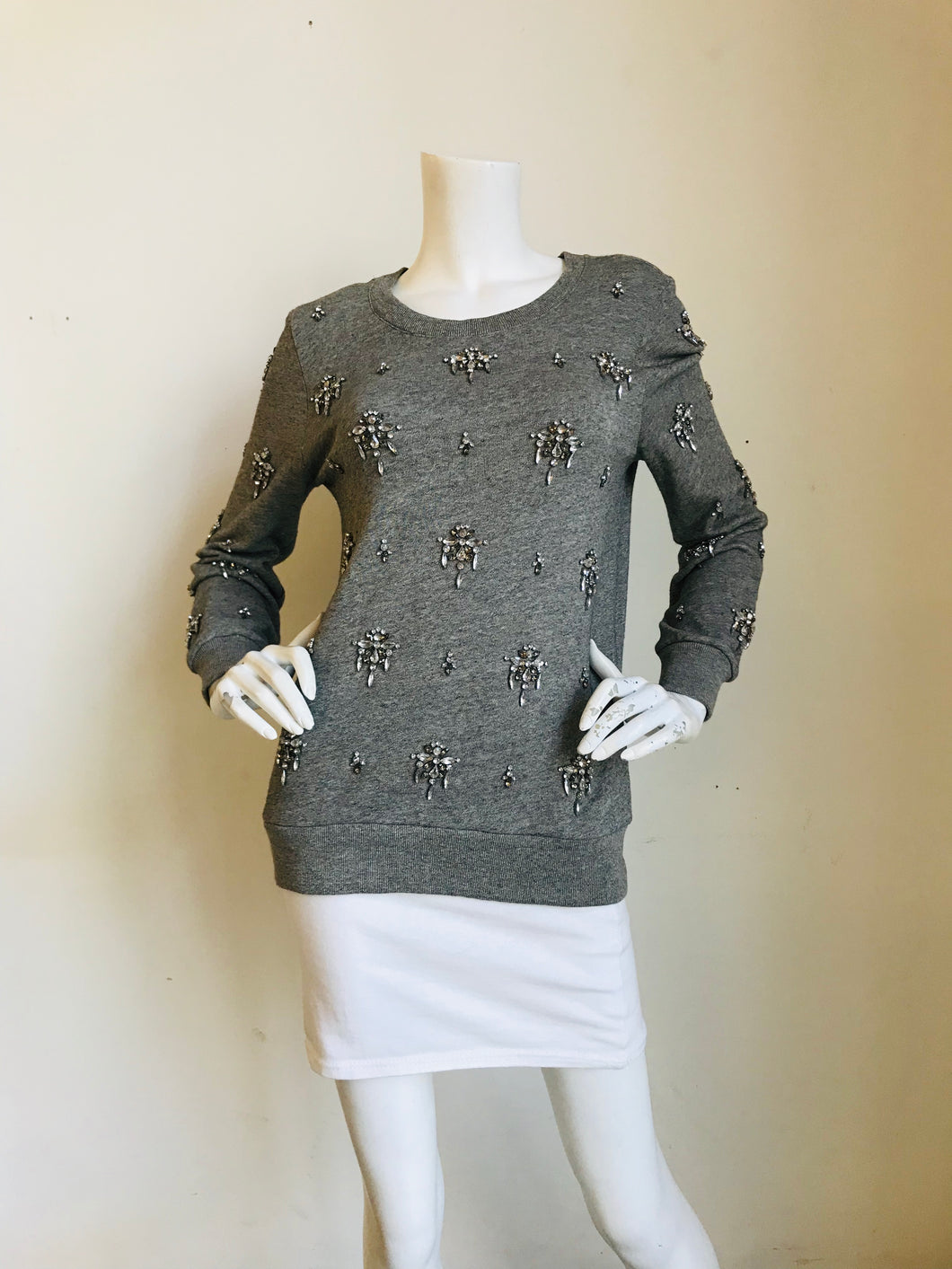 J. Crew Grey  Cotton Embellished Sweater Sz  S,