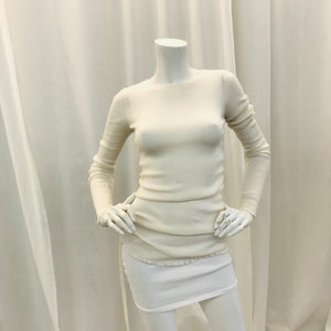 Helmut Lang Ivory  long sleeve rib knit  top Sz S