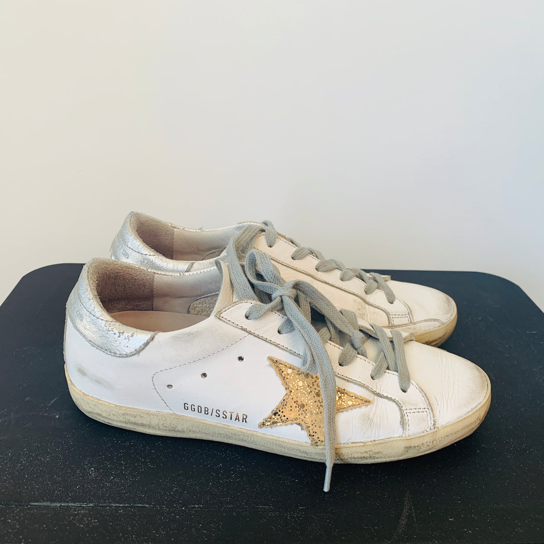 Golden Goose White Leather  low-top sneakers Sz 37