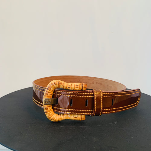 Fendi Brown  patent leather belt Sz 75/30