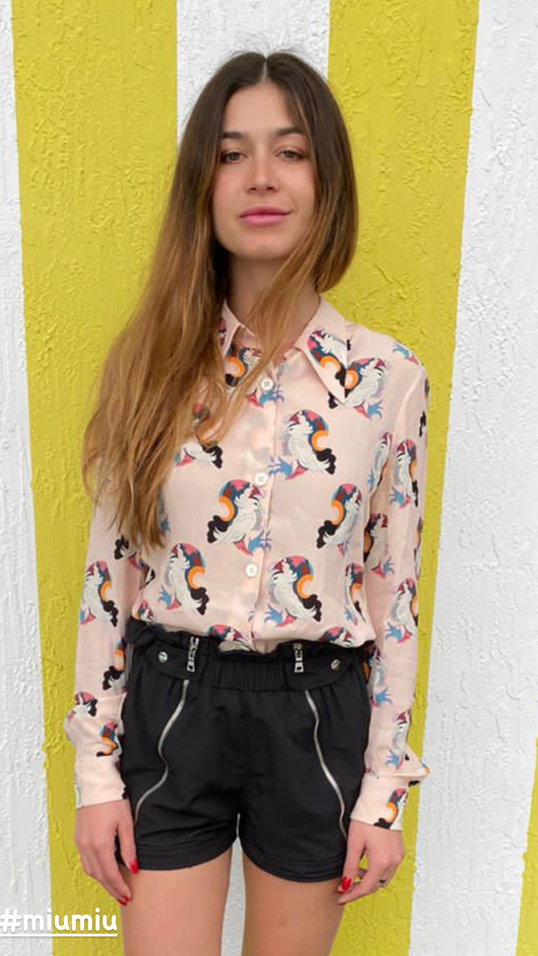 Miu Miu Silk Parrot Print Button-Up Top