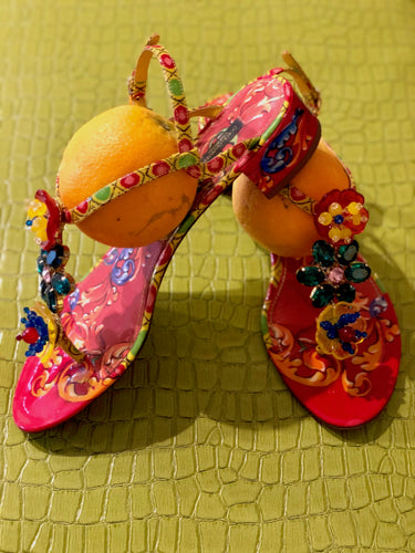 Dolce and Gabbana Multicolor Embellished T Strap Sandals 41