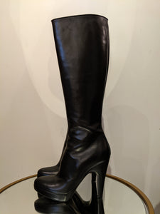 Prada Knee Boots All Black Leather