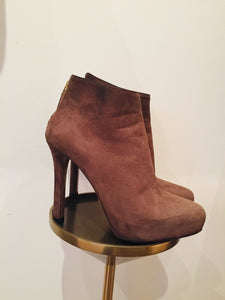 Prada Taupe Suede Ankle Bootie 37.5