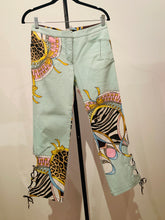 Load image into Gallery viewer, Roberto Cavalli Light blue and multicolor Cropped Pants