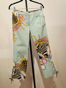 Roberto Cavalli Light blue and multicolor Cropped Pants