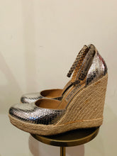 Load image into Gallery viewer, Salvatore Ferragamo Silver Snake Skin Espadrilles