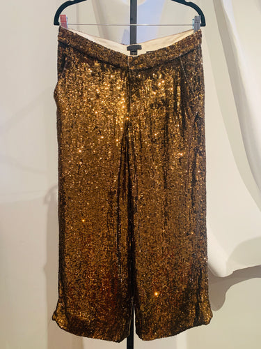 J- Crew Gold-tone Sequined Pants