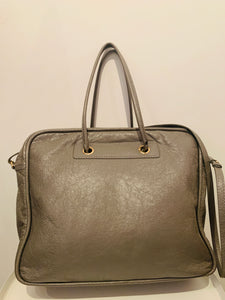 Balenciaga Grey Glazed Leather Small Blanket Bag
