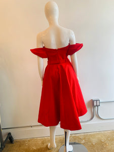 Vika Gazinskaya Red Off The Shoulder Dress