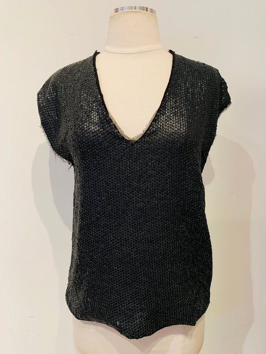 Zadig & Voltaire Black Leather Sequined Blouse