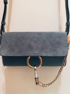 Chloe Grey Faye Wallet On Strap Crossbody Bag