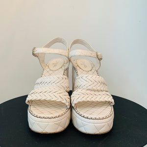 White Chanel Leather Platform Sandals 40.5
