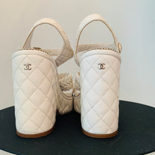 Load image into Gallery viewer, White Chanel Leather Platform Sandals 40.5