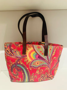 Etro Pink and Multicolor Embroidery Tote Bag