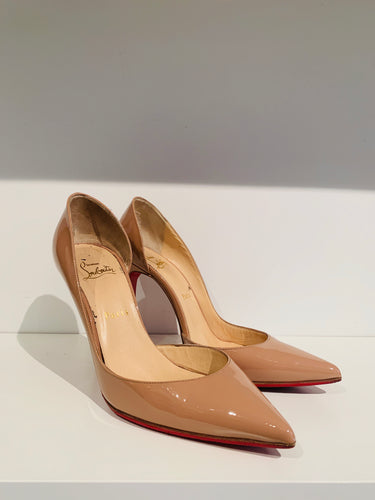 Christian Louboutin Nude Patent Leather d'Orsay Pumps