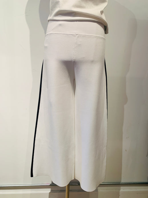 Veronica Beard White Striped Wide Leg Pants