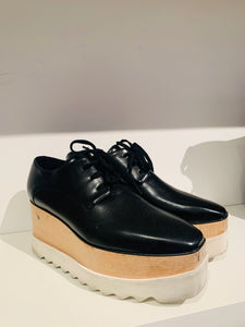 Stella McCartney Black Leather Platform Oxfords