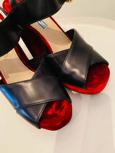 Prada Velvet  Leather Platforms Sz. 39.5