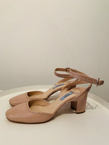 Prada Nude Patent Leather Slingback Pumps