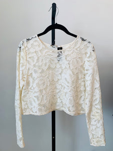 Alexis White long sleeve lace cropped top Sz S