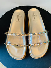 Load image into Gallery viewer, Valentino Gold PVC slide sandals