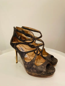 Jimmy Choo Multicolor Snakeskin Caged Sandals