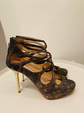 Load image into Gallery viewer, Jimmy Choo Multicolor Snakeskin Caged Sandals