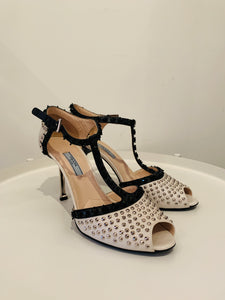 Prada Ivory & Black Leather Embellished Sandals