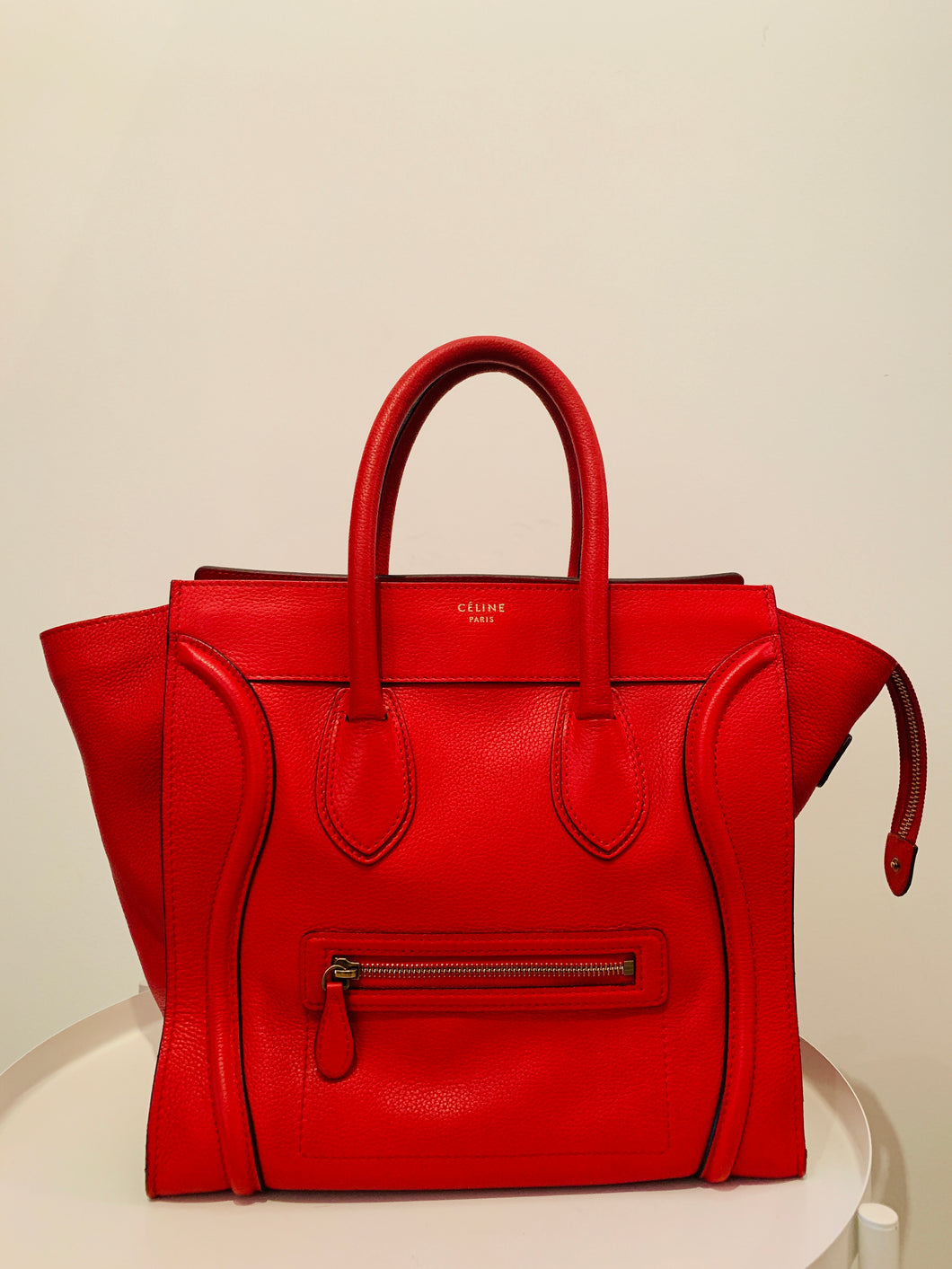 Céline Red Leather Mini Luggage tote